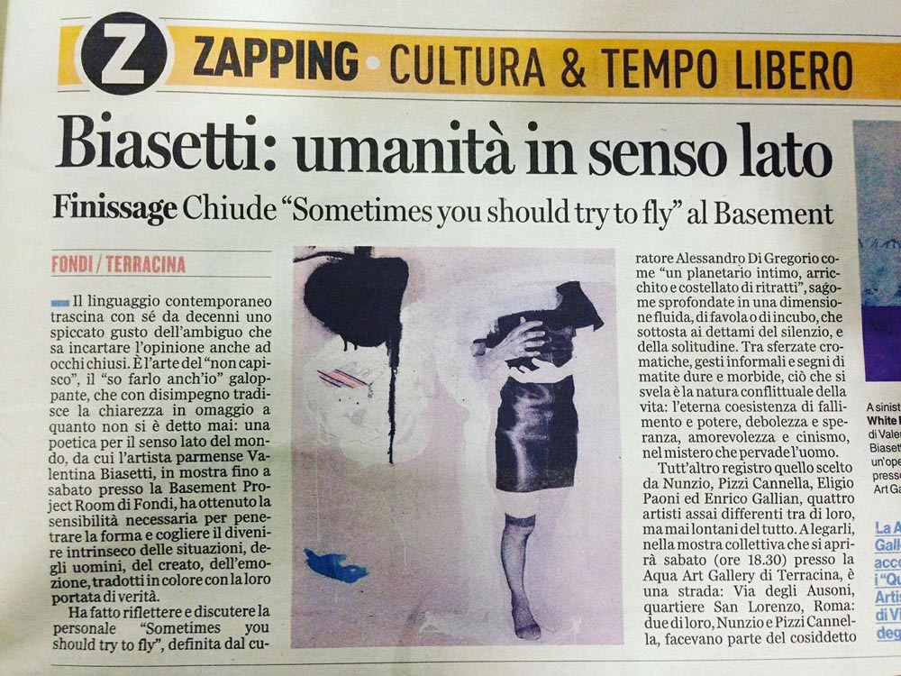 Sometimes you should try to fly | Basement Project Room Artecontemporanea | Fondi (LT) |2017